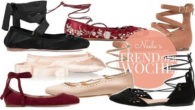 Strappy Ballet Flats im heutigen Trend der Woche nie waren Ballerinas so modern vor allem von Miu Miu