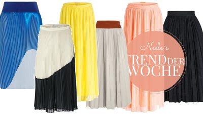 Die schönsten Plisseeröcke aus den Online Shops und Tipps wie der Modetrend Plisseerock nicht aufträgt
