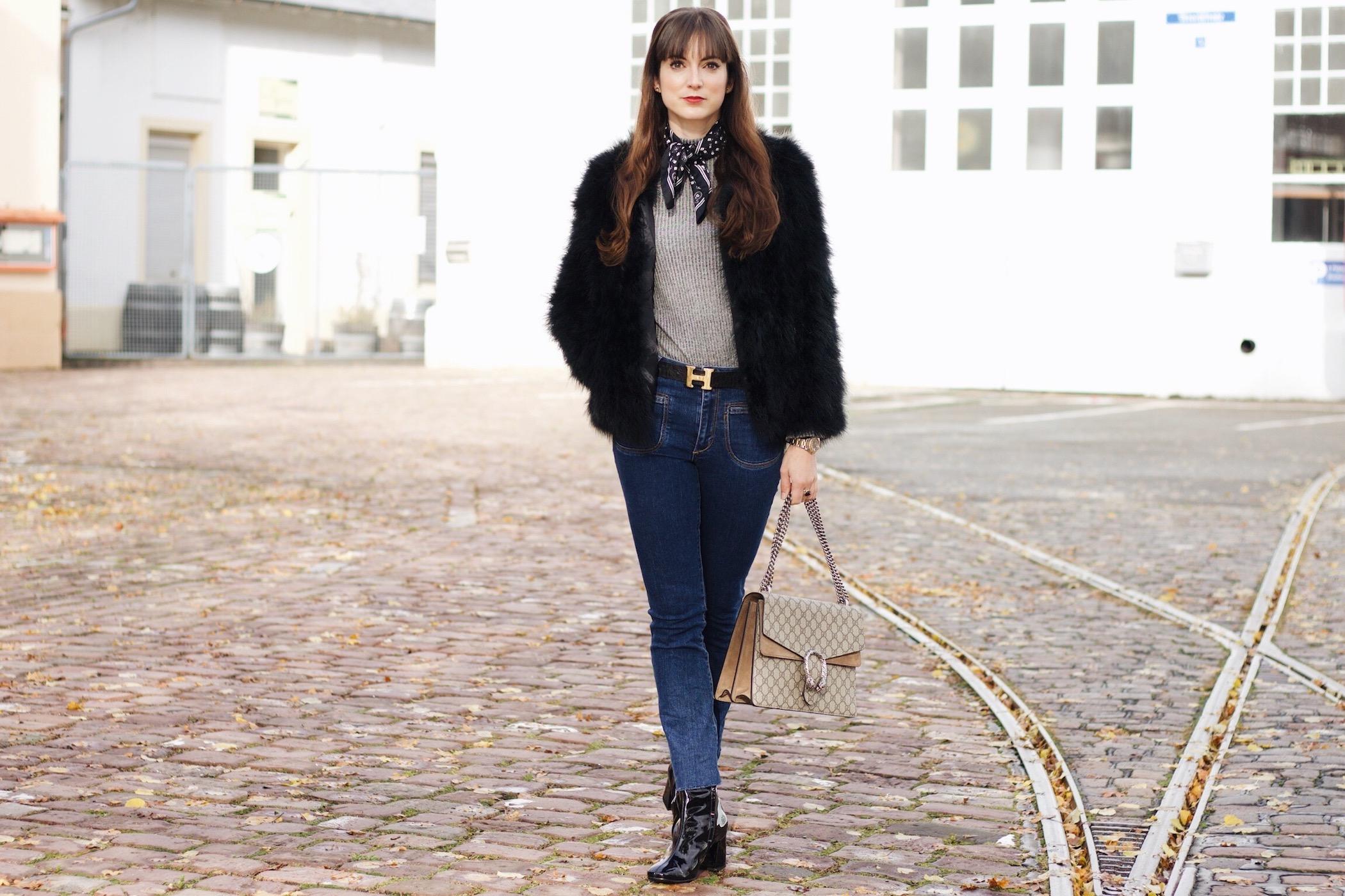 Felljacke Federjacke von Pello Bello kombiniert für meinen Modeblog