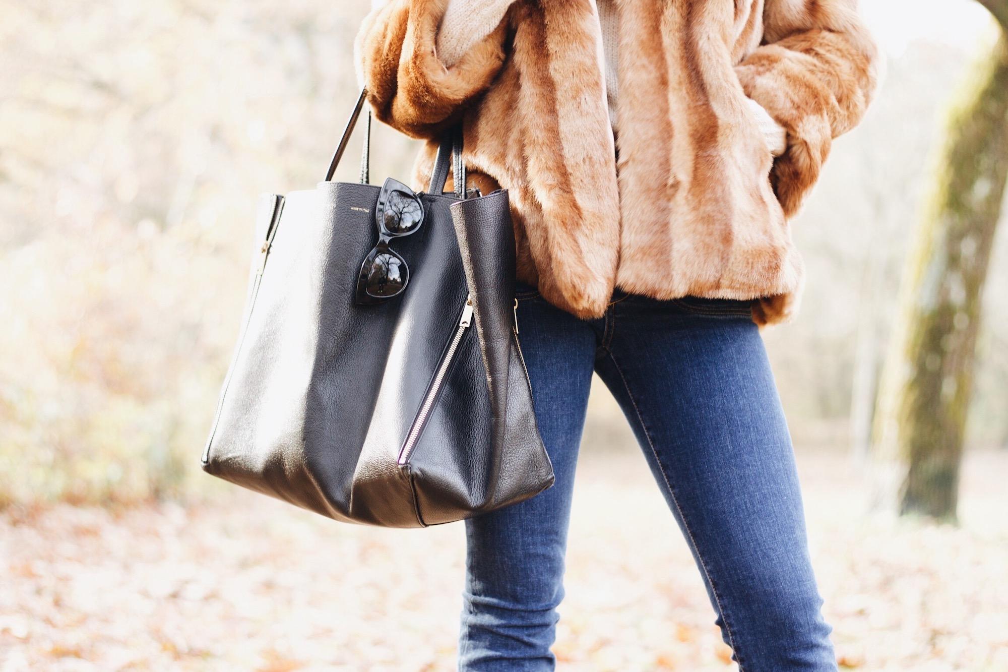 Modeblog Outfit Felljacke Kick Flare Jeans Céline Cabas Bag