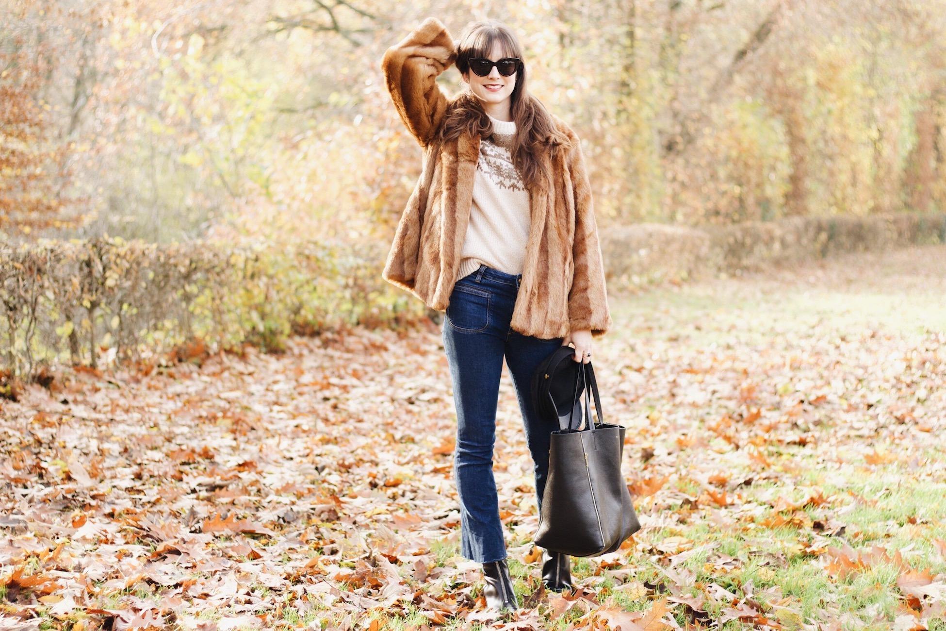 Modeblog Fashion Post Pelzjacke Fake Fur Céline Cabas Bag und Kick Flare Jeans
