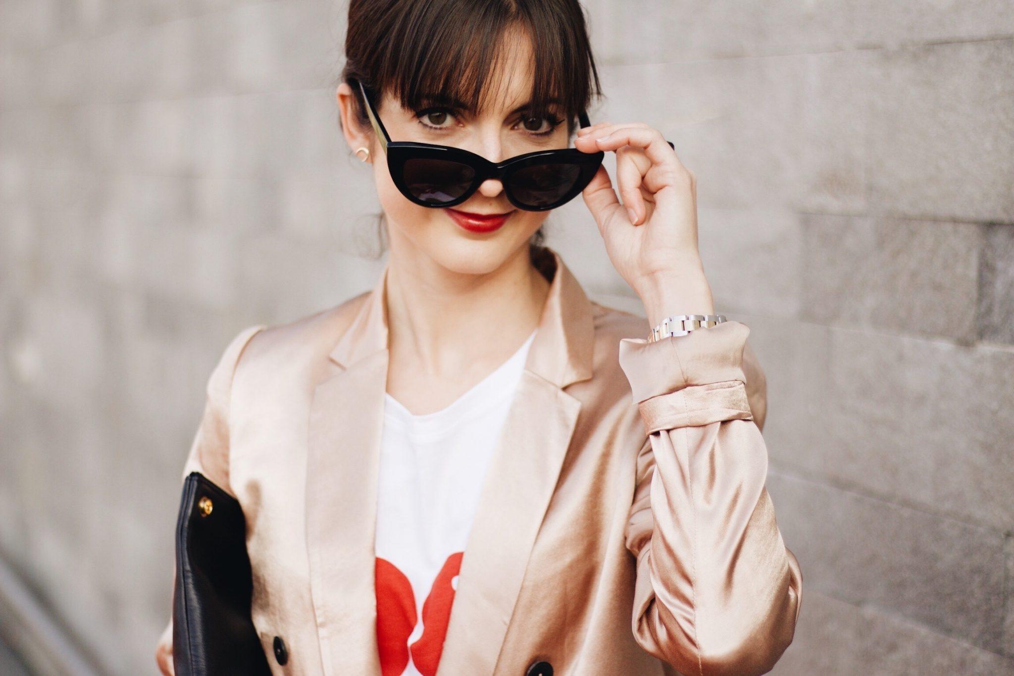 Sonnenbrille von Ace und Tate, Metallic Trend und Leo Pumps auf meinem Modeblog