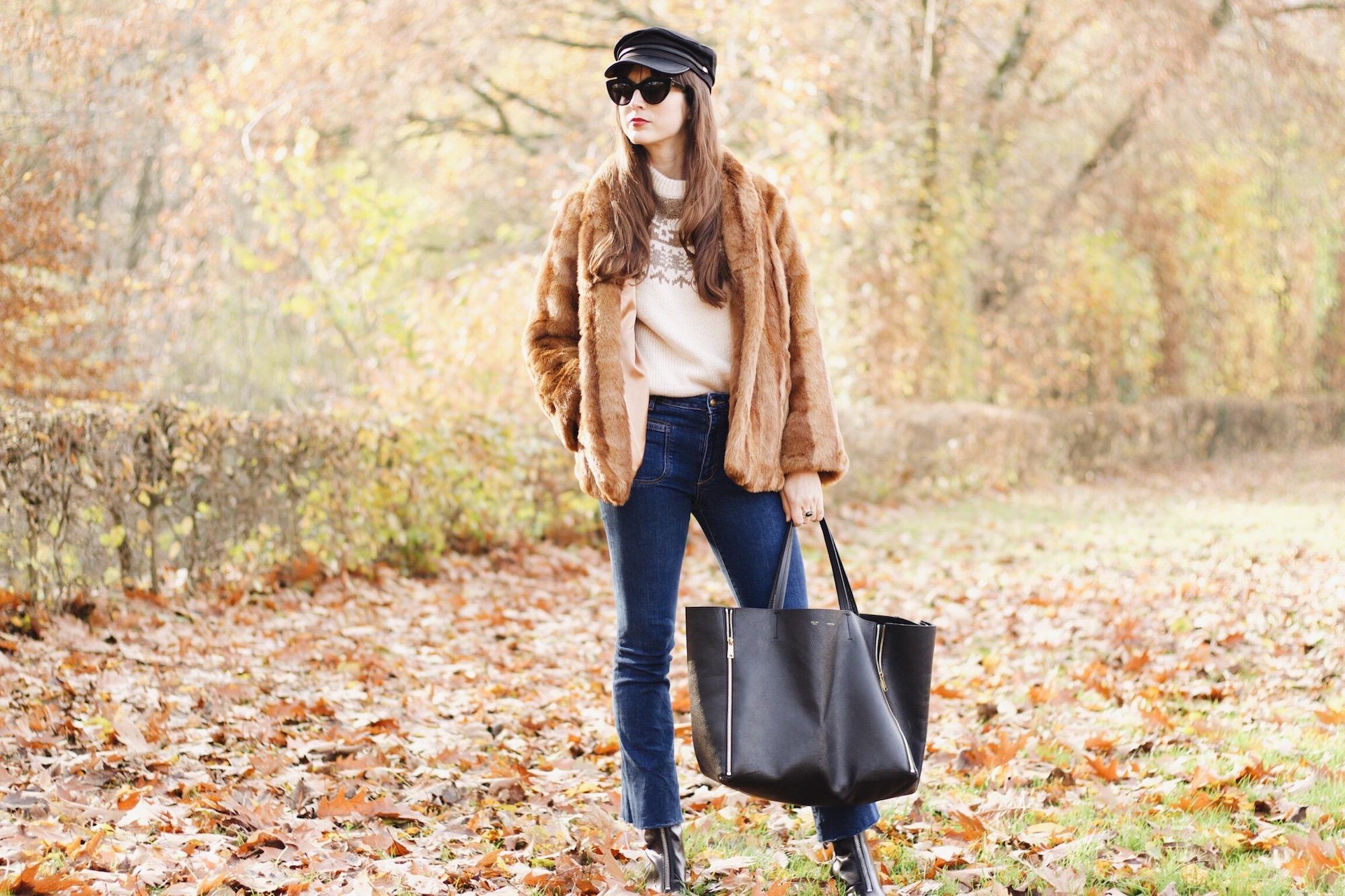 Felljacke, Céline Cabas Bag und Kick Flare Jeans auf meinem Modeblog