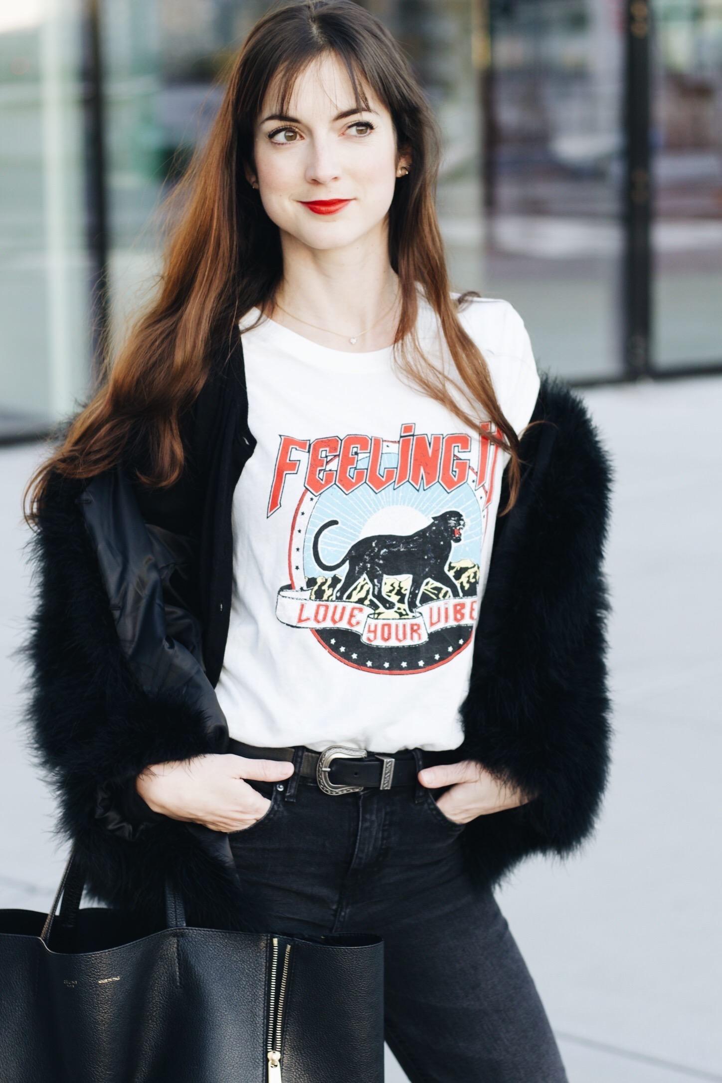 Felljacke Federjacke und Kick Flare Jeans auf meinem Modeblog