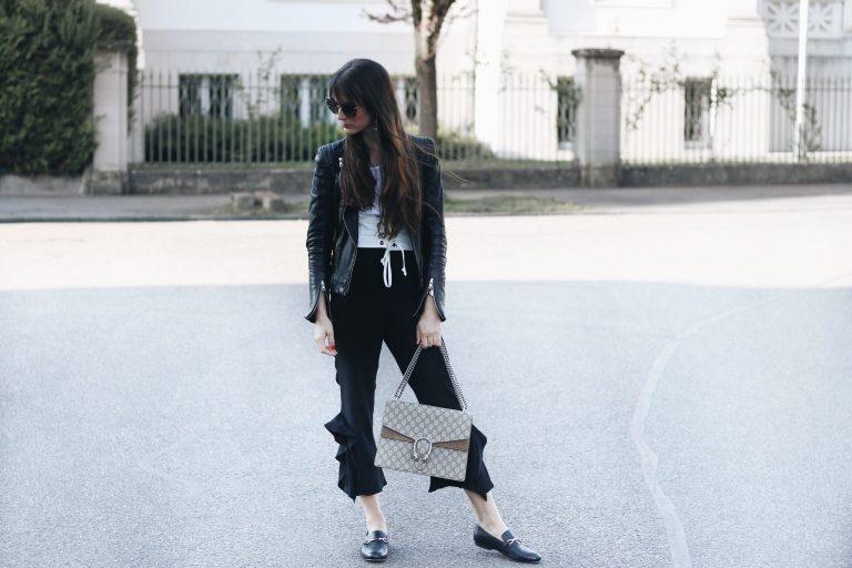 Korsettguertel-lederjacke-volants-hose-gucci-tasche-loafer-outfit