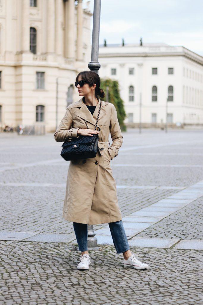 Modeblogger Outfit Streetstyle Trenchcoat Herbst Winter Look ootd Neele Bloggerin aus Freiburg und Berlin