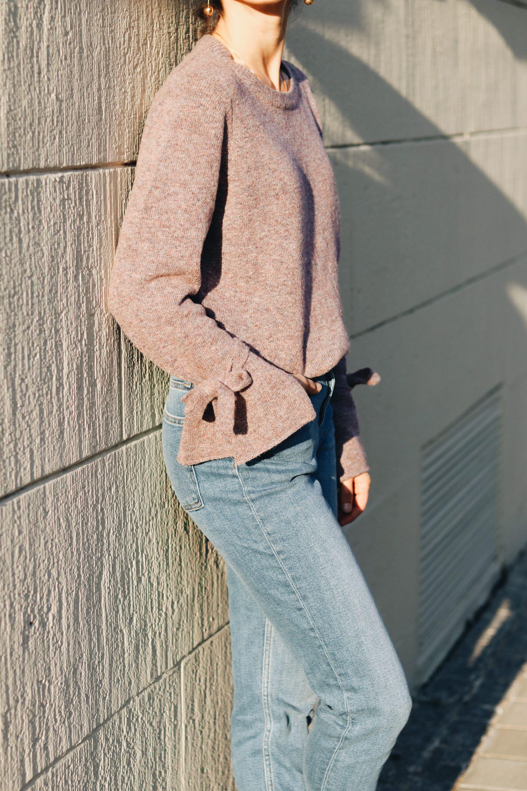 Streetstyle Outfit Deutschland Winter Pullover Strick Flieder