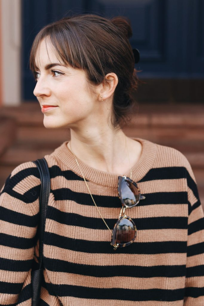 Streifen Pullover Modebloggerin Outfit Streetstyle Instagram ootd Streifenpullover kombinieren