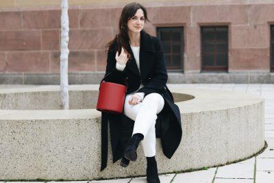 Modeblog Modebloggerin Outfit Streetstyle Winter Look Instagram Pinterest Blog white rot Handtasche Topshop Freiburg deutsch blog