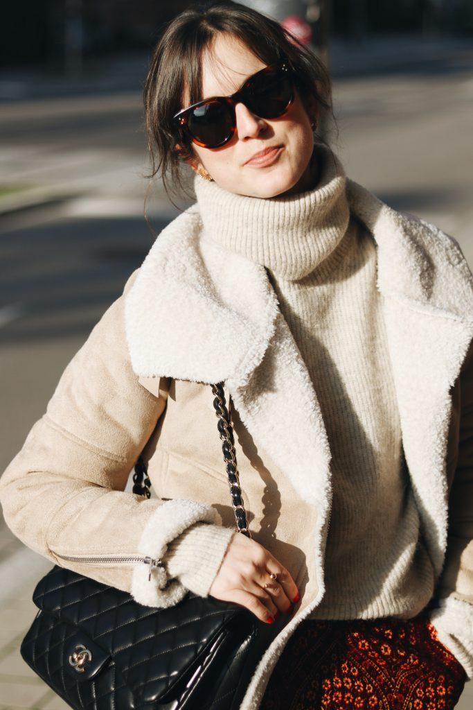 Celine Sonnenbrille kaufen kombinieren Blog Instagram Pinterest Lammfelljacke Look Winter
