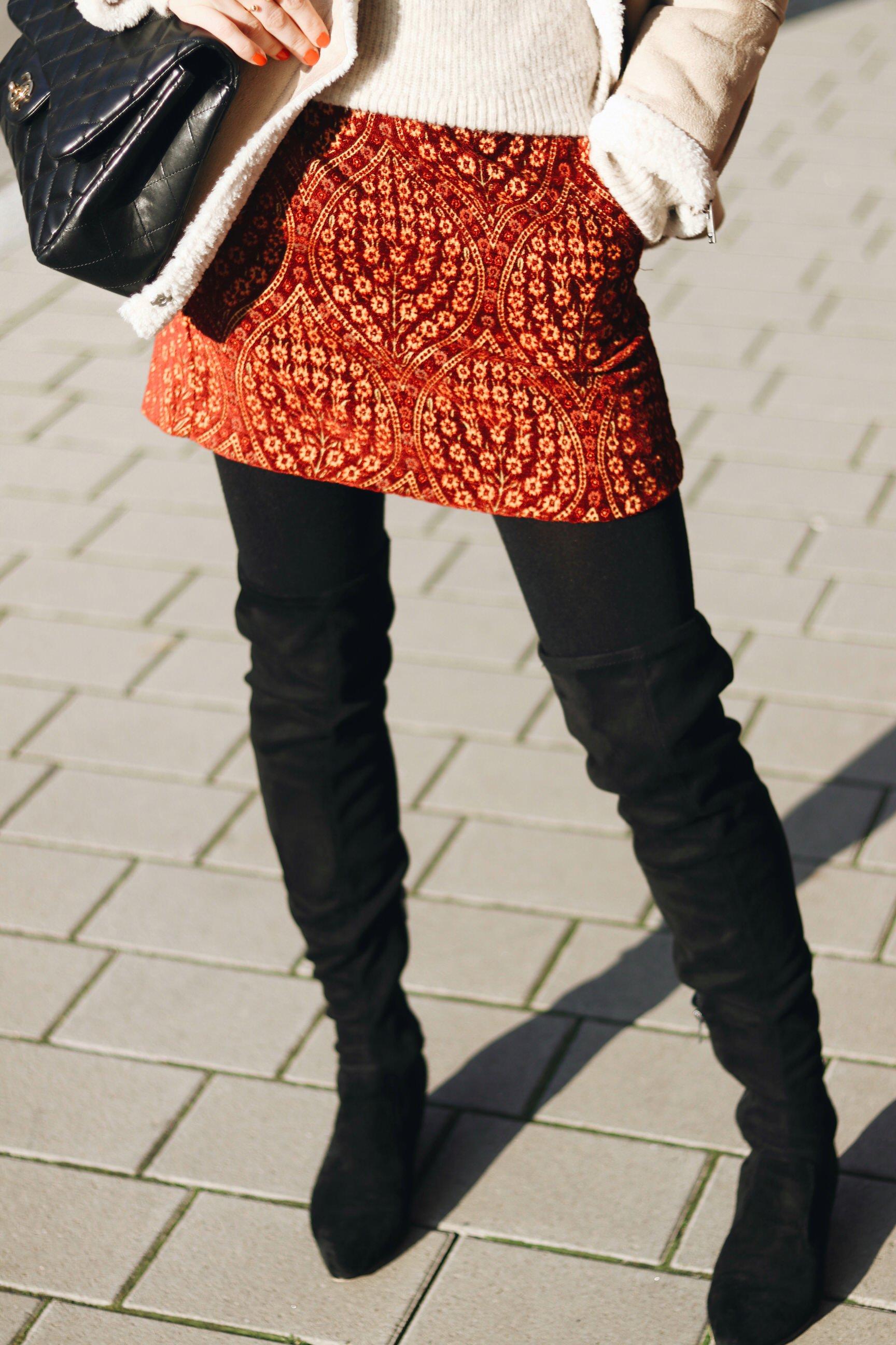 Minirock Overknees Schwarz kombinieren Winter Outfit Streetstyle look Fashionblog Modeblog