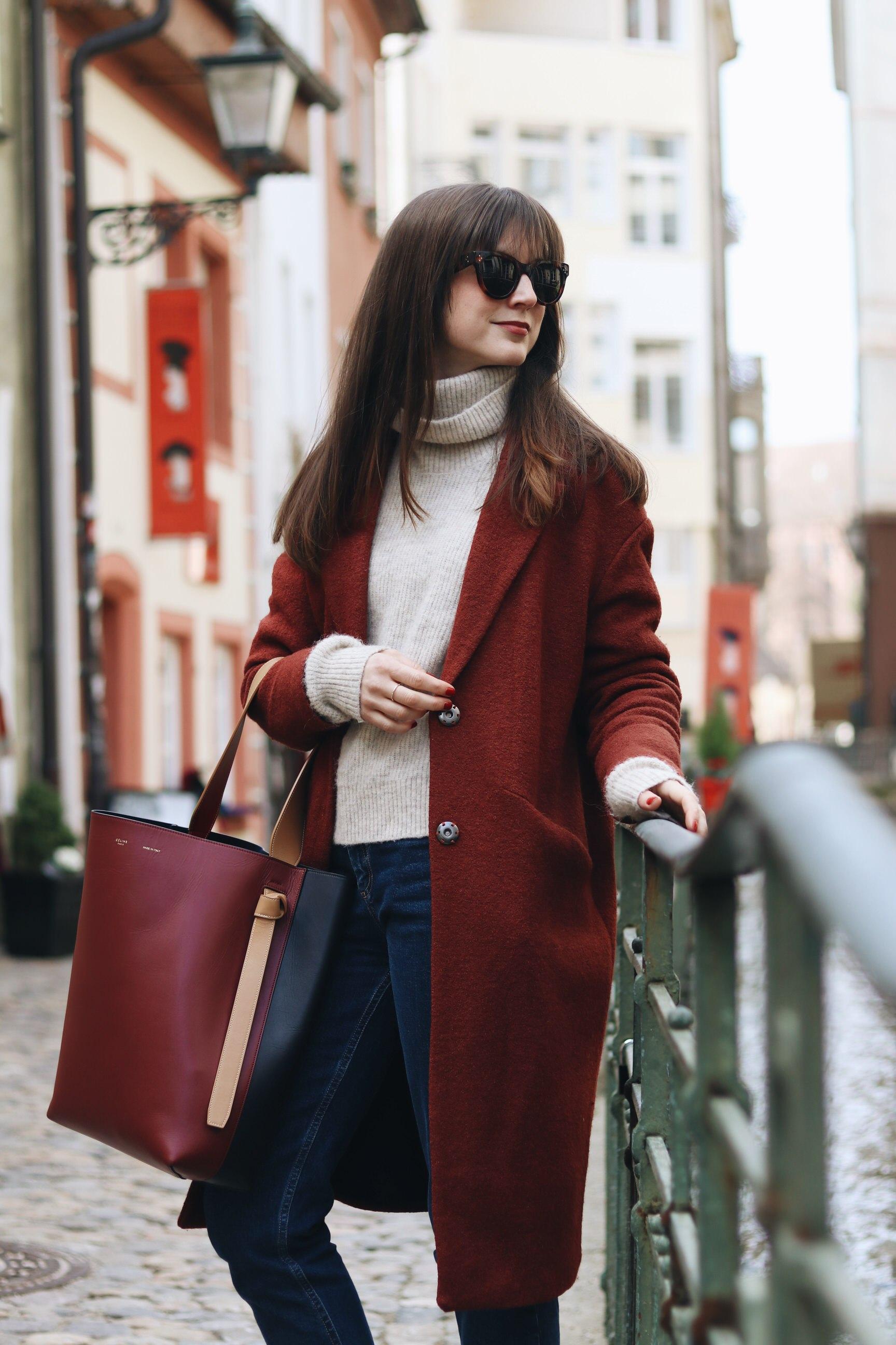Céline Outfit Sonnenbrille Tasche rot Modeblog Taschentrends Winter Look Fashionblog Blog Neele