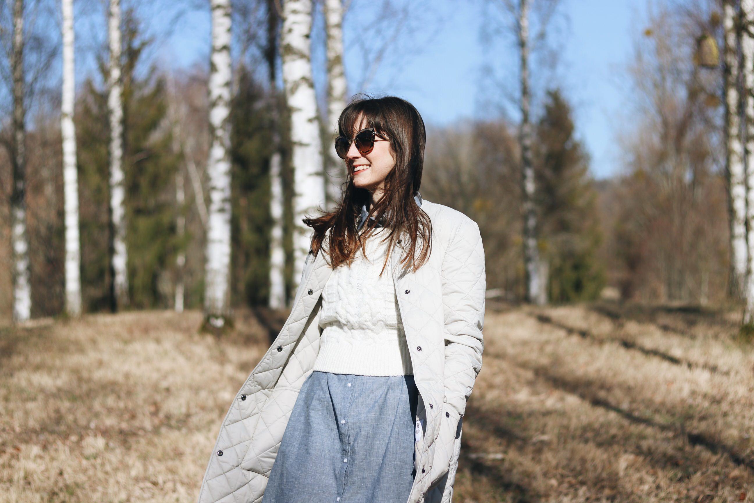 Barbour Outfit Fruehling Trends Modetrends Mantel Longbluse blau Neele Modeblog Top 10 Deutschland Schwarzwald