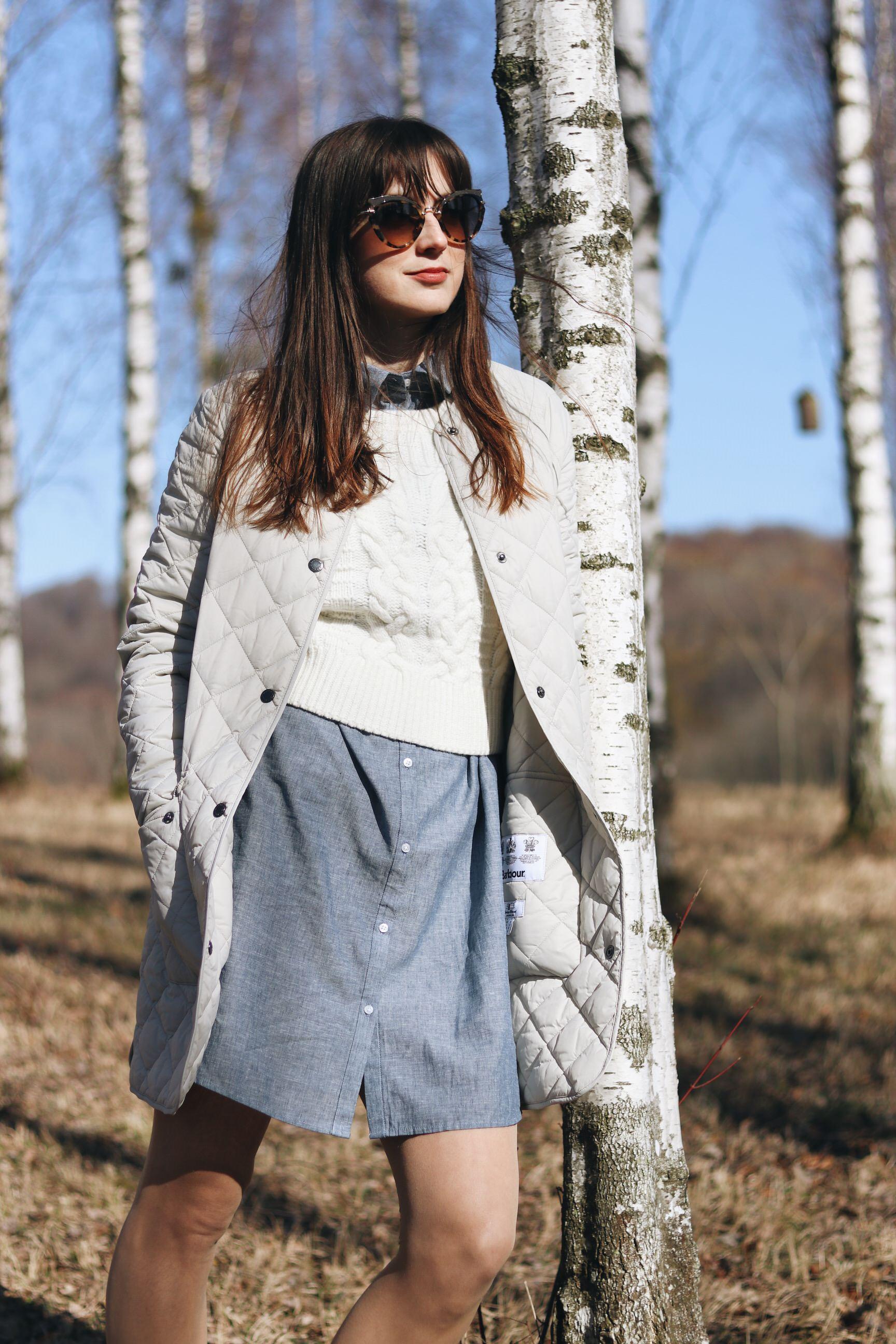 Barbour Steppmantel Longbluse blau outfit Fruehling Trends Blog Modeblog