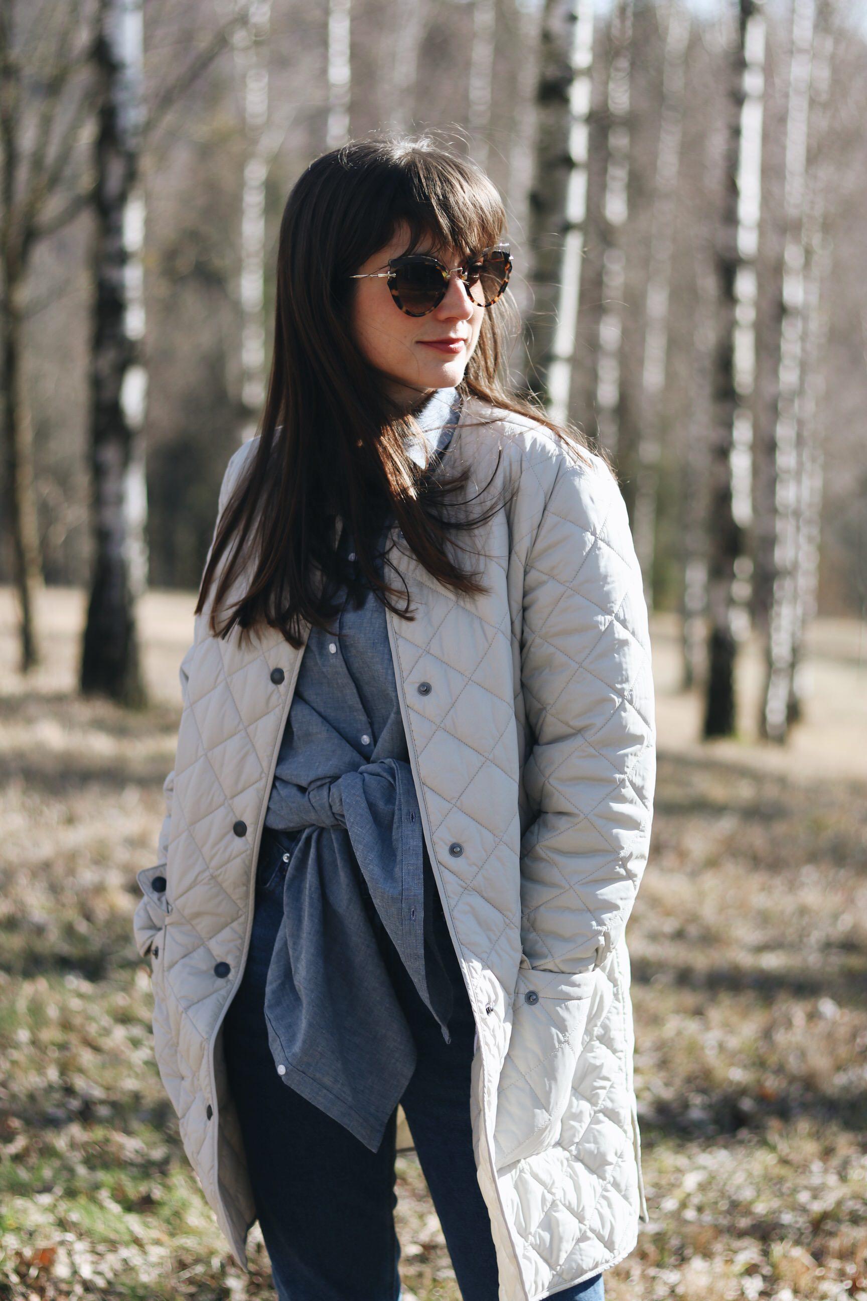 Birkenwald Schwarzwald Wanderoutfit Modeblog Barbour Mantel Longbluse Modebloggerin
