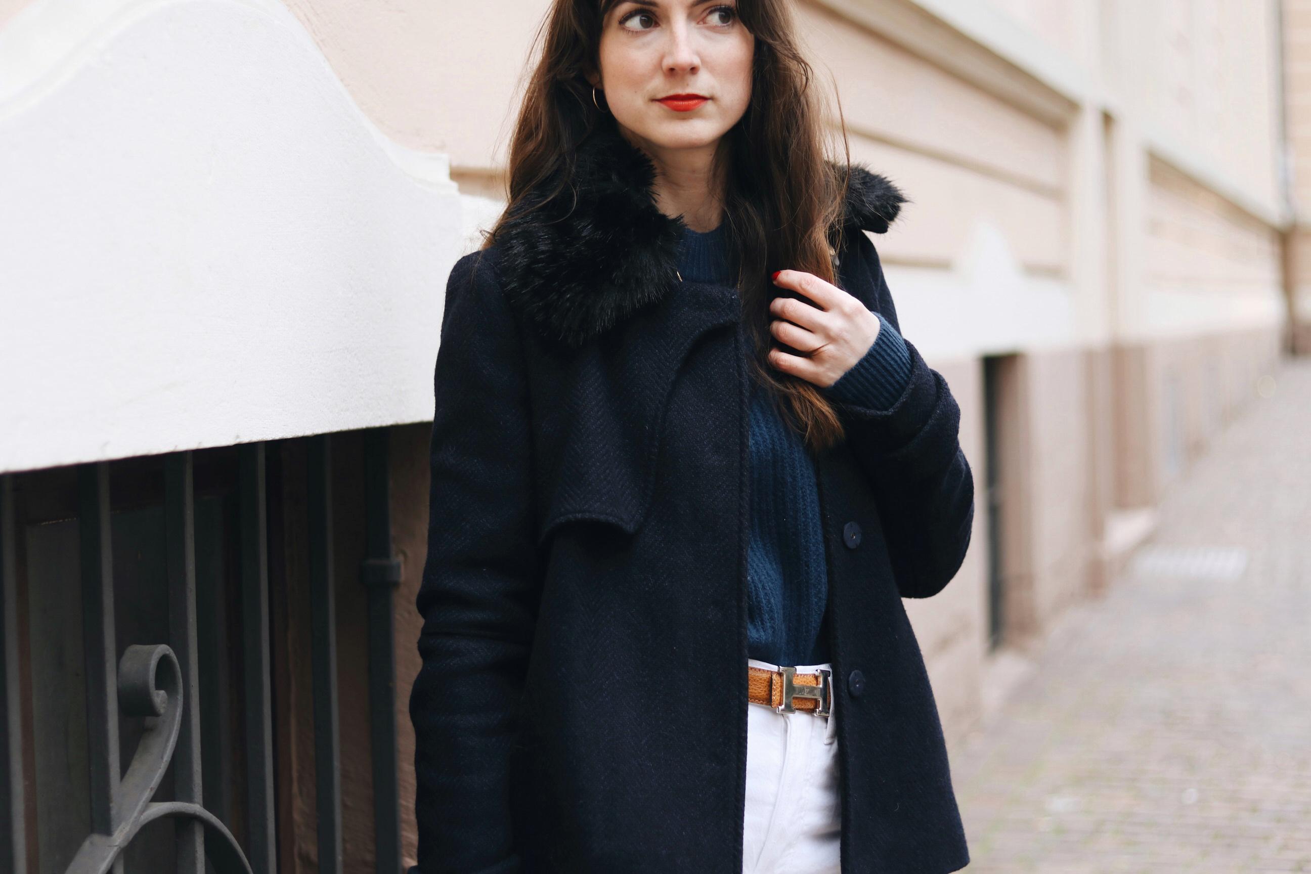 Winterjacke Caban Jacke blau kombinieren kaufen Damen blog Modeblog Bloggerin streetstyle