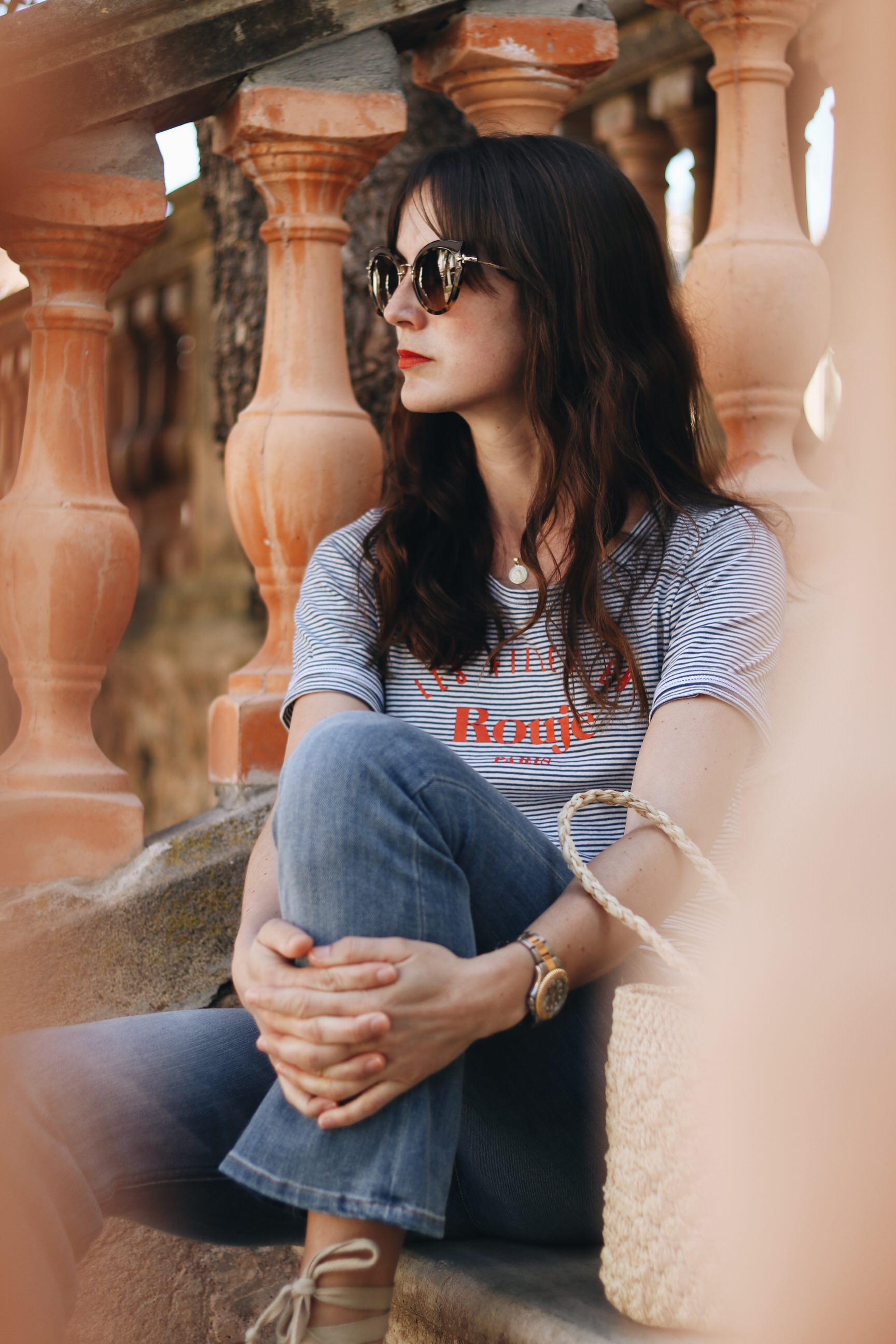 Neele Modebloggerin Streifen OBerteil Modetrends Kick Flare Jeans Outfit Modeblog
