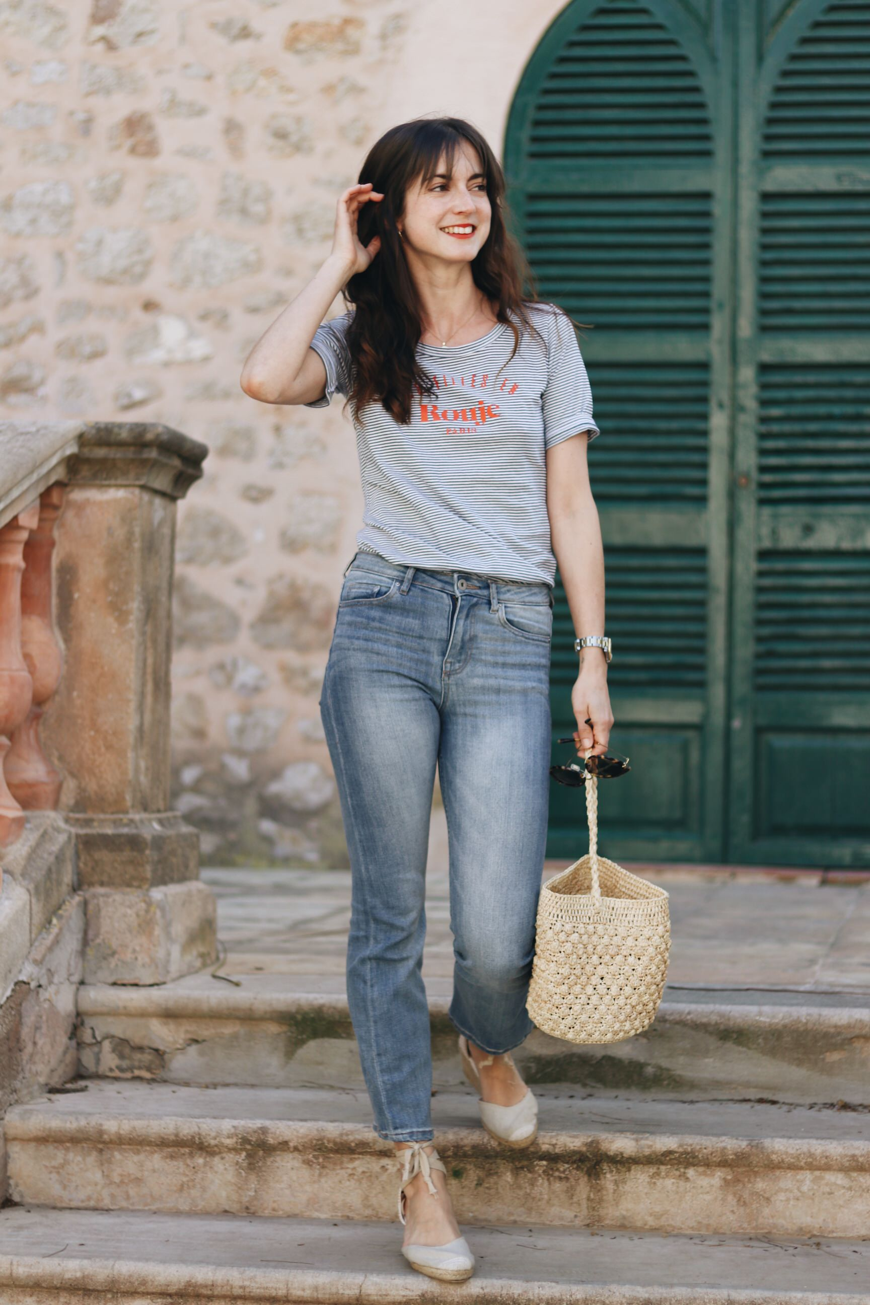 Fruehlings Outfit Blog Modeblog Streifen Kick Flare Jeans espadrilles Schuhe Fruehling Look