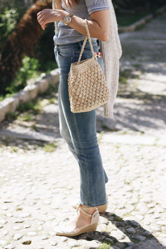 Korbtasche rund kombinieren kaufen Taschentrends Look Kick Flare JEans Fruehling Streifen Oberteil Blog Fashionblog