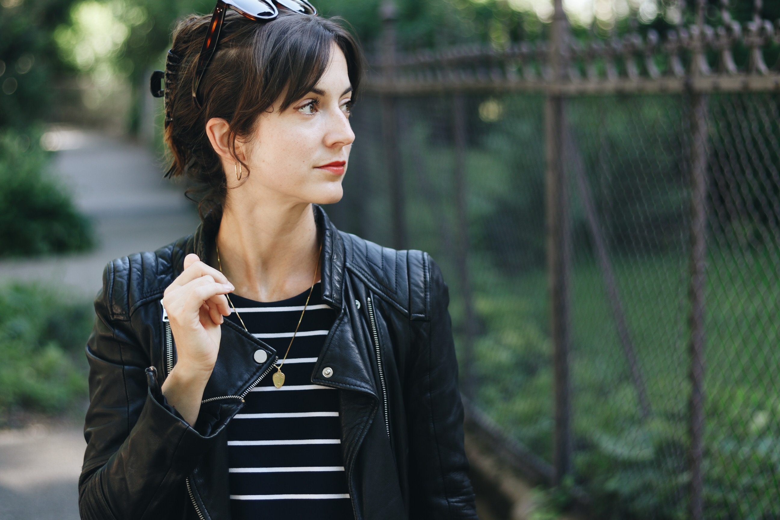 NEele Modeblog Modebloggerin schwarze Lederjacke Celine Sonnenbrille