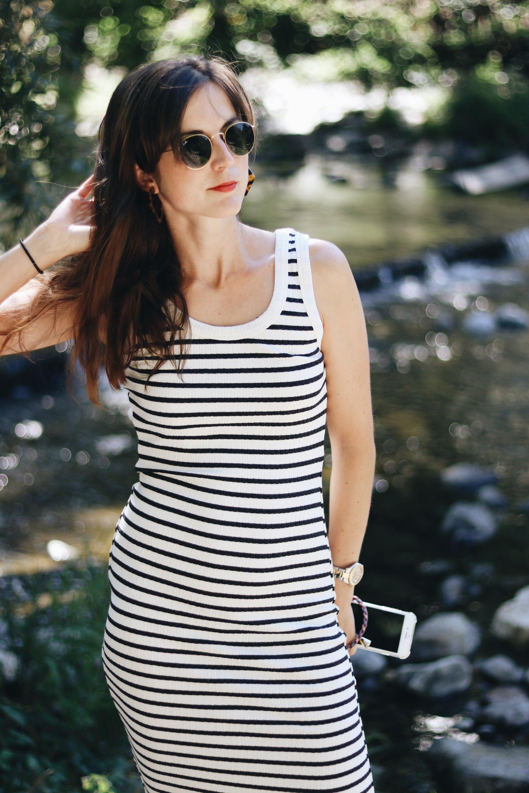 Sommerkleid schwarz weiss gestreift Blog Modeblog Outfit