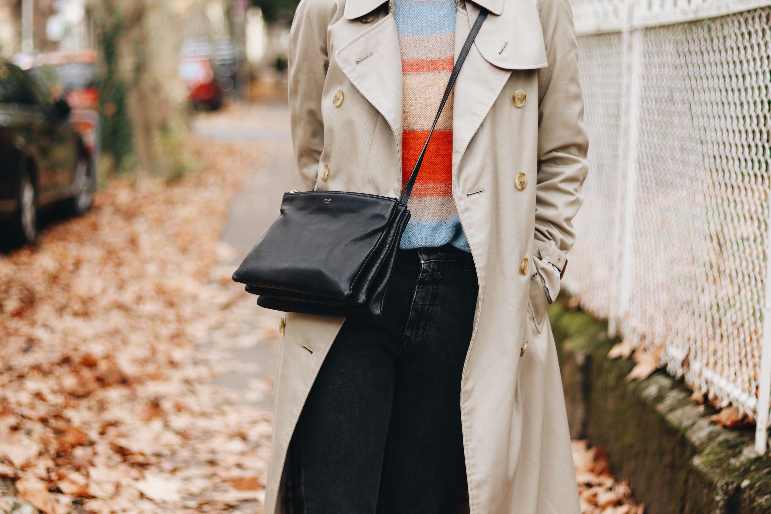 Celine Trio Bag Schwarz Burberry Mantel Herbst Look Modeblog Outfit
