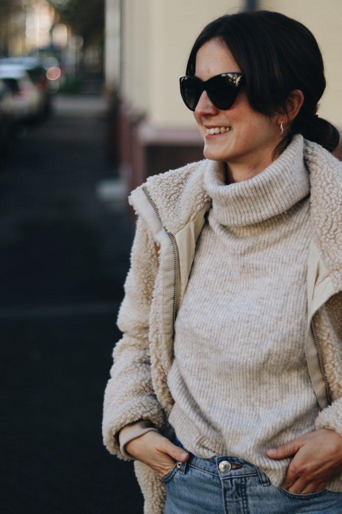 Kuscheloutfit Modeblog Blog Neele Teddyjacke Gucci Sonnenbrille Winteroutfit Norweger Pullover