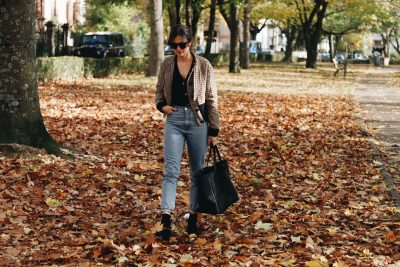 Modeblog Outfit Streetstyle Herbst Winter Modetrends Karo Cardigan Mom Jeans Celine Tasche Sonnenbrille Blog Fashionblog Neele