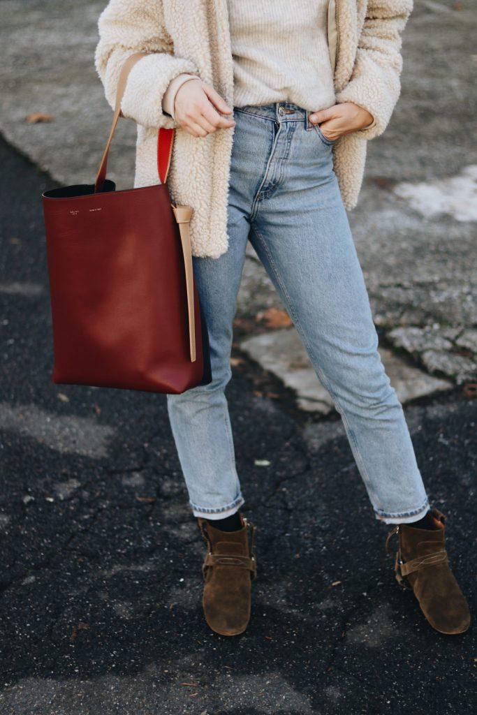 Mom Jeans Outfit Blog Modeblog Celine Tasche Isabel Marant Booties Blog