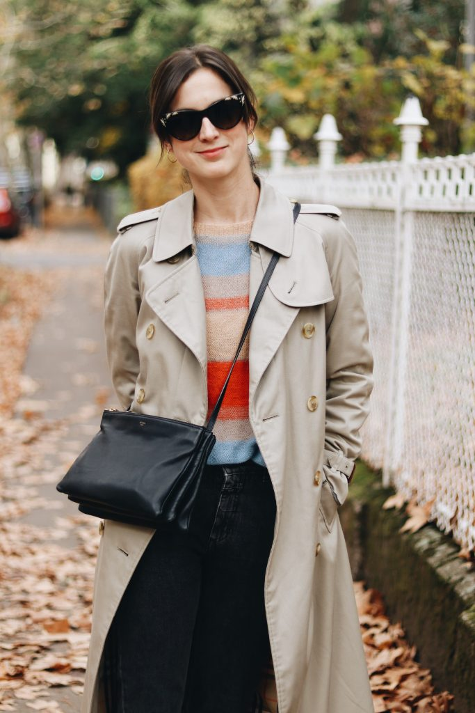 Burberry Mantel klassisch Celine Sonnenbrille Trio Bag Herbst Outfit Modebloggerin Neele Fair Fashion Second Hand